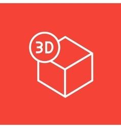Three D box line icon vector image