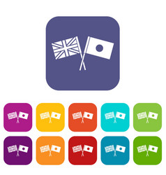 Uk and japan flags crossed icons set vector