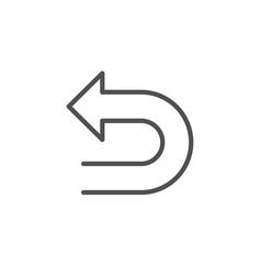 Undo arrow line icon left turn vector