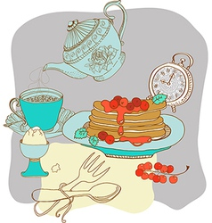 Vintage color morning tea background vector