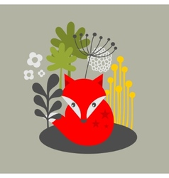 Vintage fox and flowers print vector