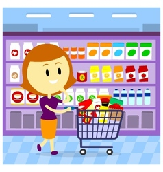 Woman grocery shopping vector