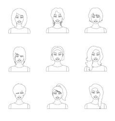 Woman set icons in outline style big collection vector