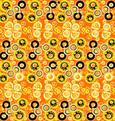 Yellow and black abstract background with circles vector image vector image