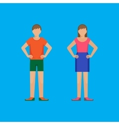 Boy and girl are standing holding arms akimbo vector image