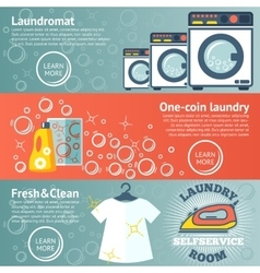 Set of laundry banners with laundromat detergents vector