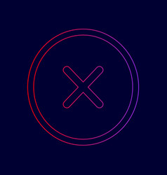 Cross sign   line icon with vector