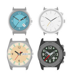 Mechanical four watches colorful poster on vector