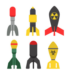 Missile rocket set icon vector