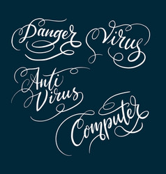 Anti virus and danger typography vector