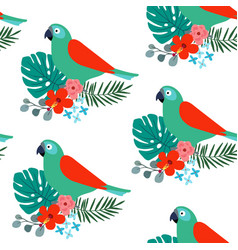 Tropical jungle seamless pattern with parrot bird vector