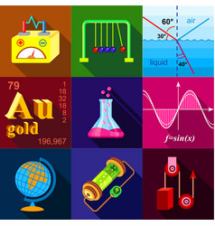 Scientific experience icons set flat style vector