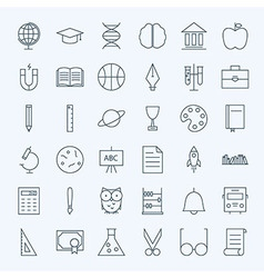 Line education and science icons set vector