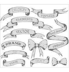 Vintage ribbon banners hand drawn set vector