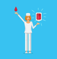 Nurse with blood bag vector
