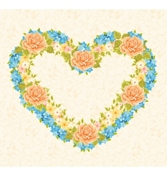 Floral frame in the shape of heart design element vector