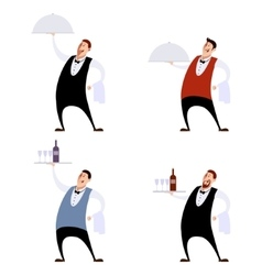 Set of waiters vector image