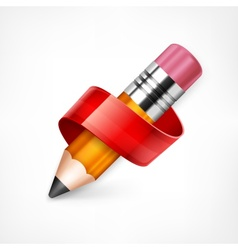 Pencil with red ribbon vector