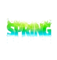 Spring word with flowers and grass vector