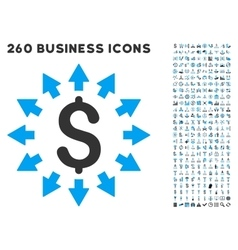 Dollar distribution icon with flat set vector