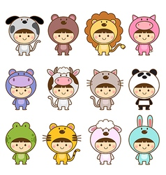 Set of kids in cute animals costumes vector