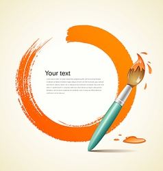 Paint brush orange background vector
