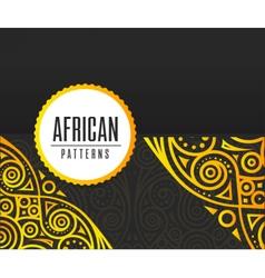 African Golden pattern on black background vector image vector image