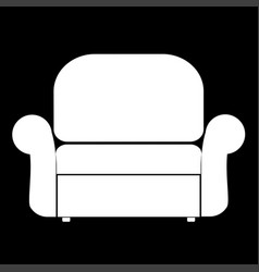 Armchair the white color icon vector