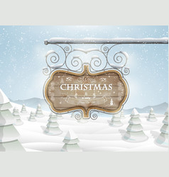Board with Christmas greeting vector image vector image