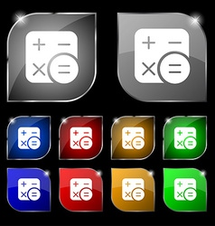 Calculator icon sign set of ten colorful buttons vector