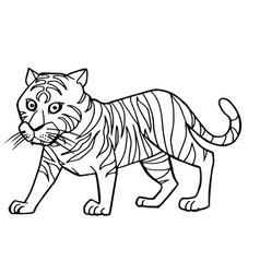 Cartoon cute tiger coloring page vector