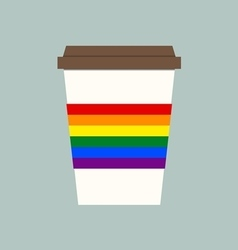Coffee cup with LGBT flagLGBT support symbol vector image vector image