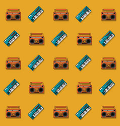 Color pattern with piano keyboard and cassette vector