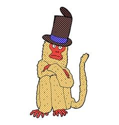 comic cartoon monkey wearing hat vector image