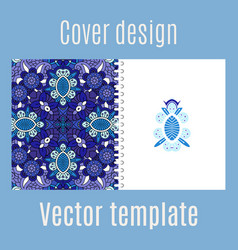 Cover design with blue floral ornament vector