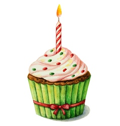 Cupcake with a candle on a birthday watercolor vector image vector image