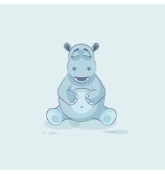 Emoji character cartoon hippopotamus happy and vector