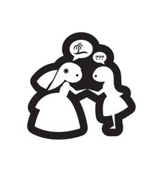 Flat icon in black and white bride friend vector