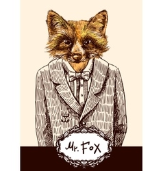 Fox in jacket vector