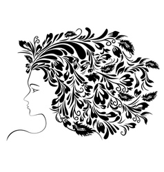 Girl floral hairstyle vector