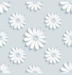 Grey seamless pattern with decorative 3d chamomile vector