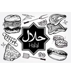 Halal product set Muslim Label vector image vector image