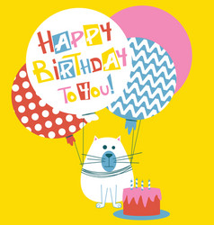 Happy birthday greeting card with cats vector