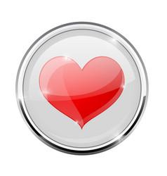 Heart symbol in round chrome frame vector
