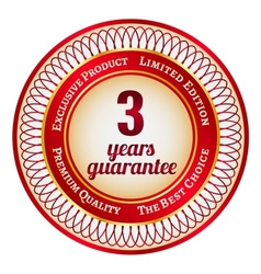 Label on 3 year guarantee vector image