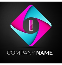 Letter i logo symbol in the colorful rhombus vector