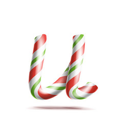 letter u 3d realistic candy cane alphabet vector image