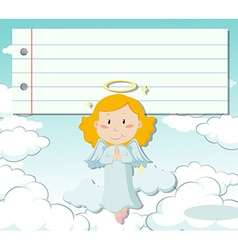 Line paper design with angel flying vector image vector image