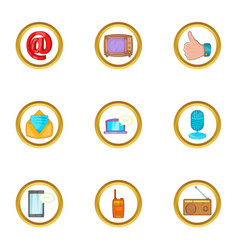 media device icon set cartoon style vector image