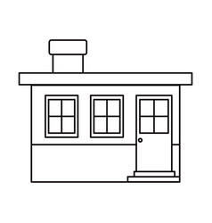 Monochrome silhouette small house facade with vector